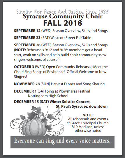 Syracuse Community Choir Fall 2018 Season