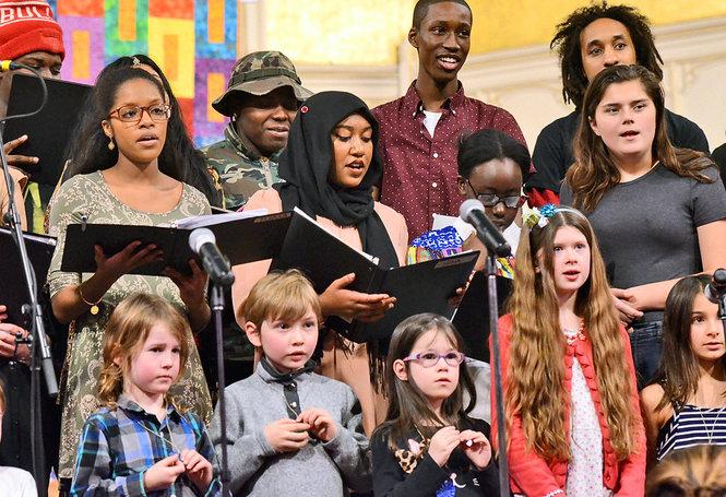 Choir singing at concert